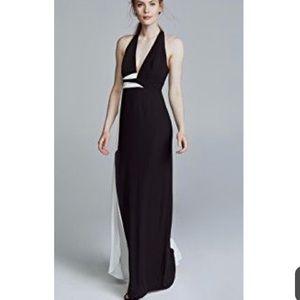 V neck gown contrast sash